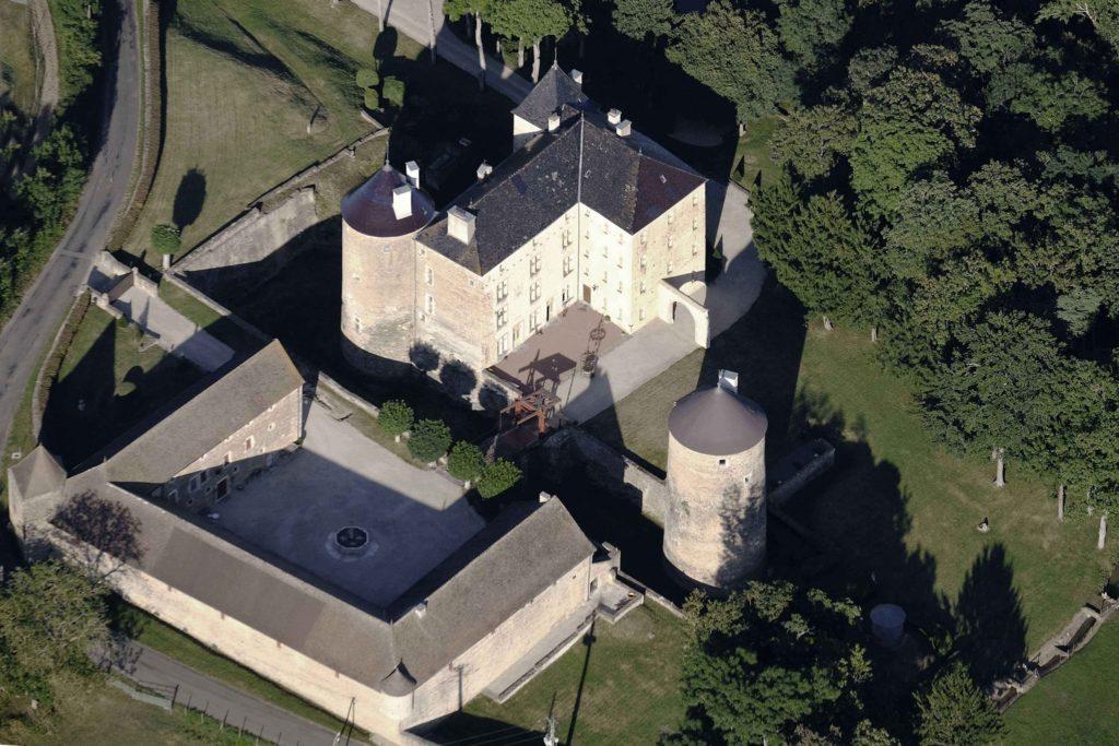 Birds-eye view of the chateau de ruffey