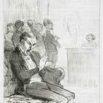 """""""Une victime de la politesse"""", dessin paru dans """"Le Charivari"""" de février 1852."""