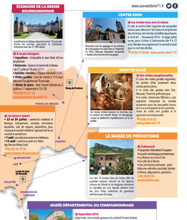 carte departement 71 activites