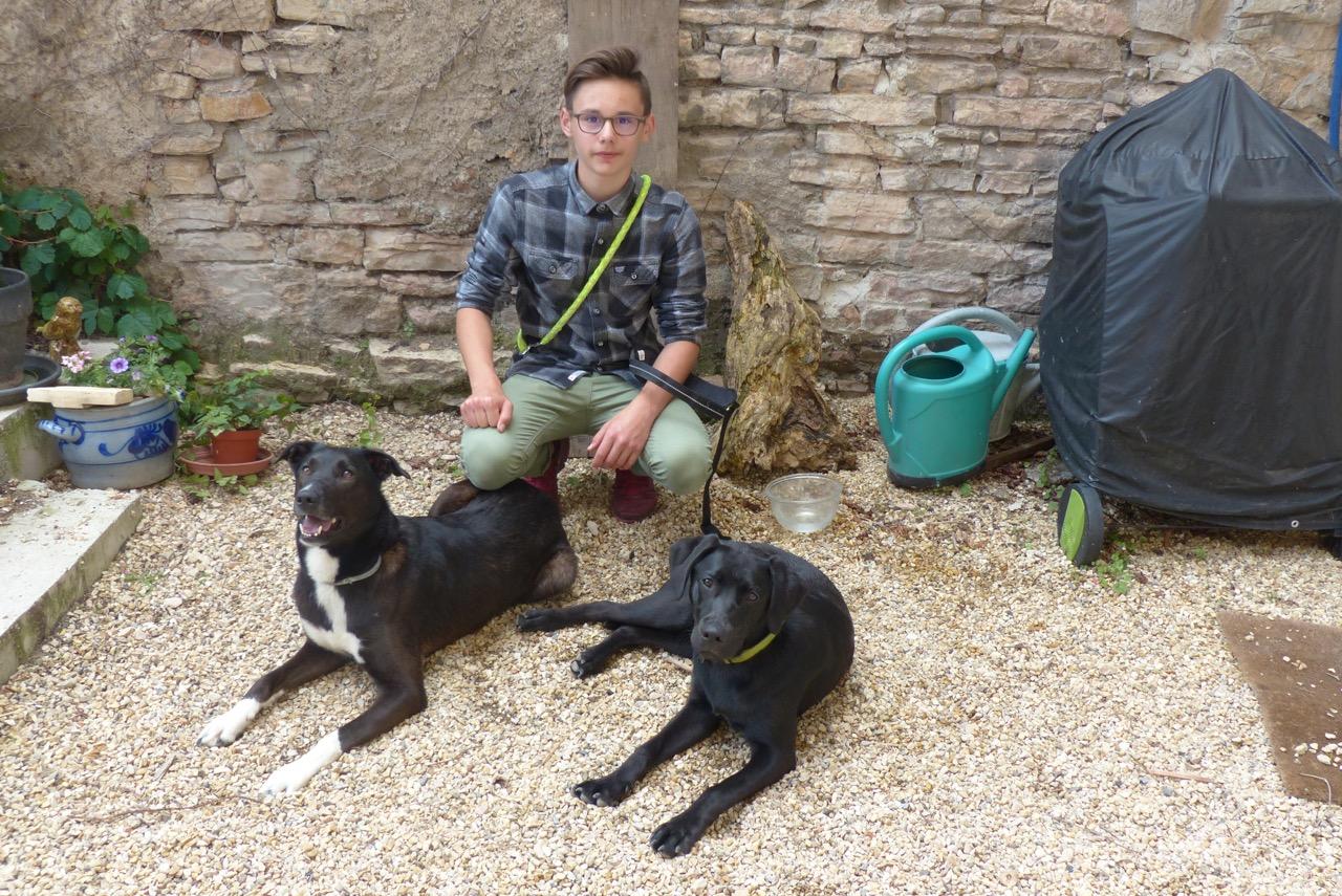 Dorian avec Chika (G) et Maestro (D).